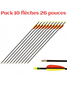 Pack of 10 arrows 26 inches (66cm), fiberglass, black