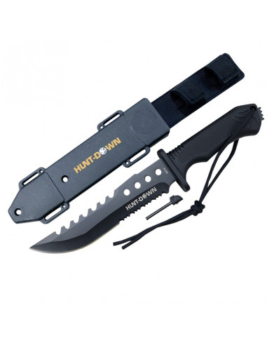 Survival knife 12 inches black with fire