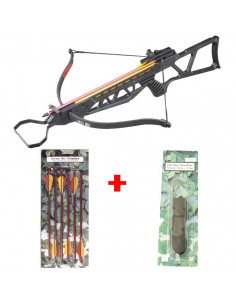 Pack Crossbow 120 lbs black + rope + arrows metal
