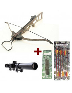 Pack Camo Foldable Camo 180 pounds + 6 arrows 16 inches + scope 4x20 + rope
