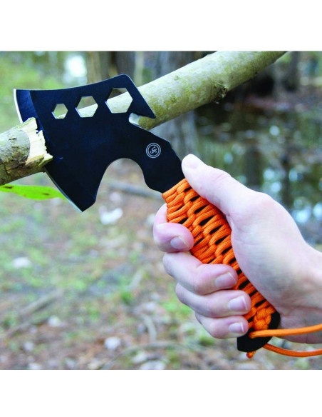 Survival hatch with paracord and fire starter