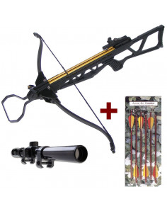 Pack Folding Black Crossbow 180 pounds + 6 bolts 16 inches + scope 4x20 + string